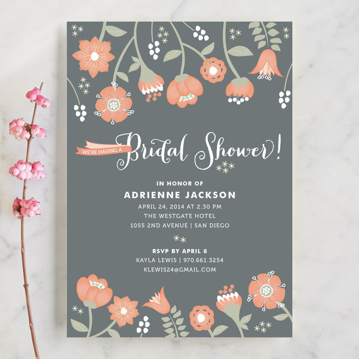 """Garden Whimsy"" - Floral & Botanical, Whimsical & Funny Bridal Shower Invitations in Soft Coral by Wendy Van Ryn."