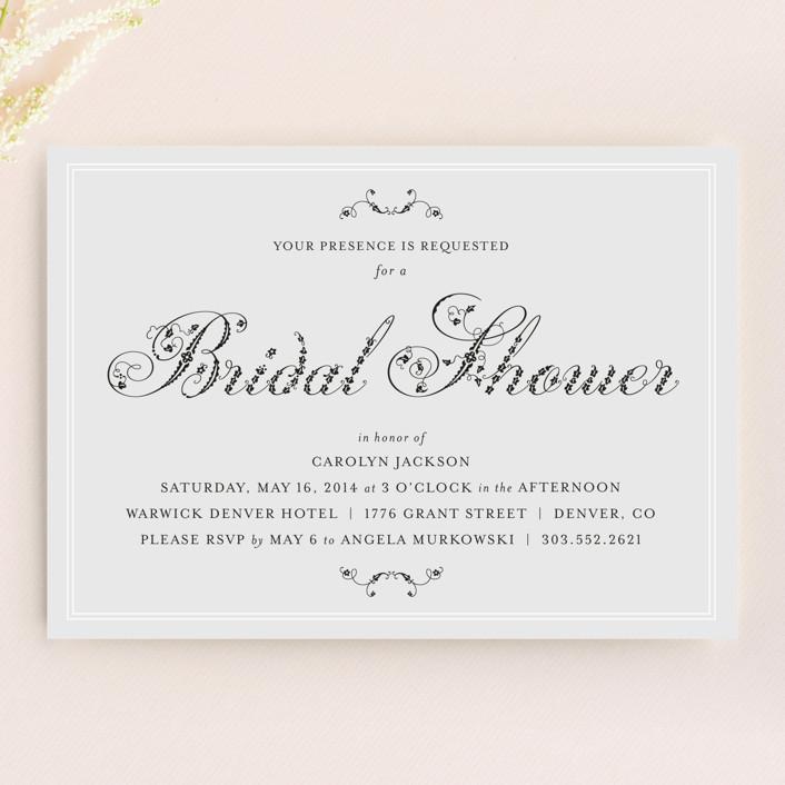 """Formal Fleur"" - Formal Bridal Shower Invitations in Dove Grey by Wendy Van Ryn."