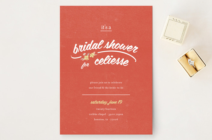"""""""Flower Toss"""" - Hand Drawn, Floral & Botanical Bridal Shower Invitations in Red by Tyler Tea."""