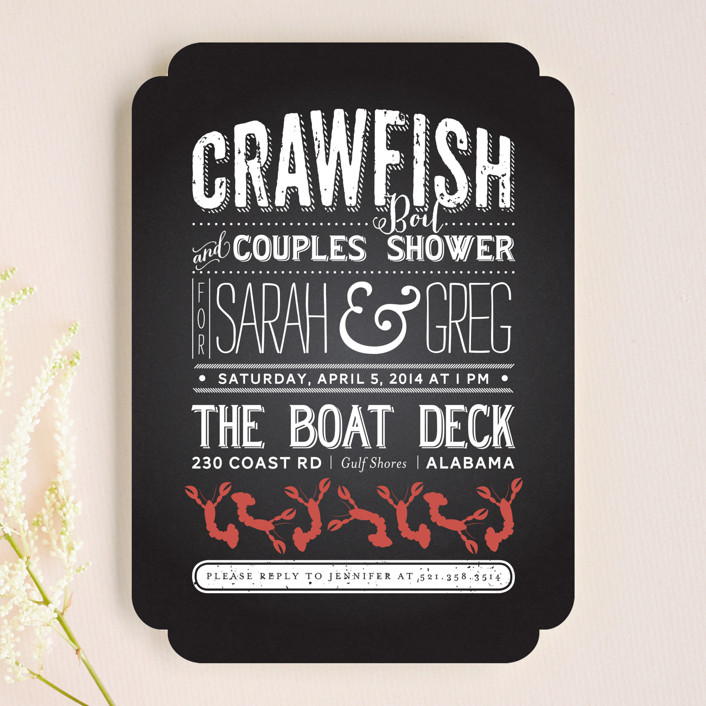 """Crawfish & Couples"" - Bold typographic Bridal Shower Invitations in Chalk by Lesa Abney."