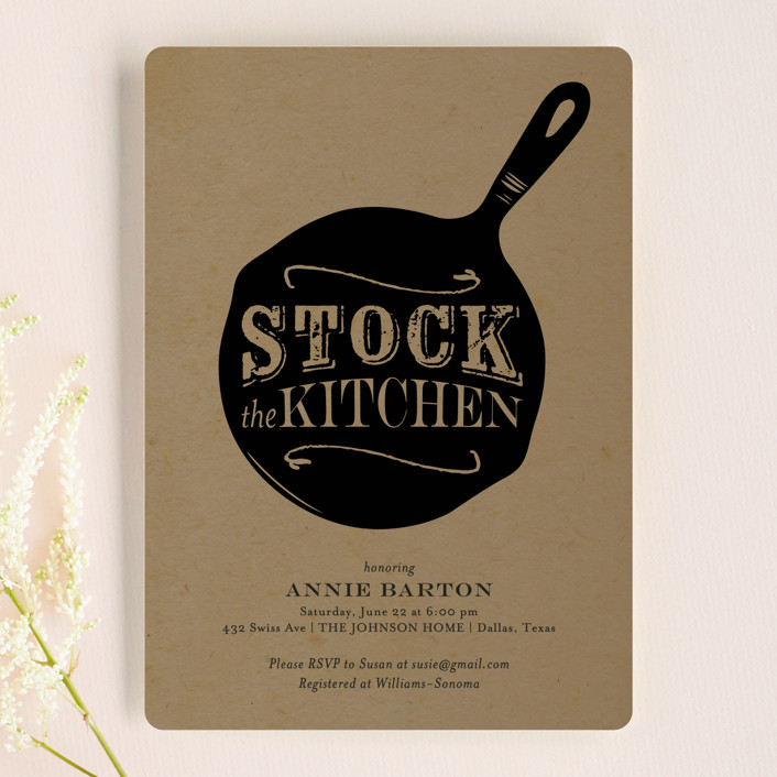 """Pan Fried"" - Whimsical & Funny, Rustic Bridal Shower Invitations in Charcoal by Lesa Abney."