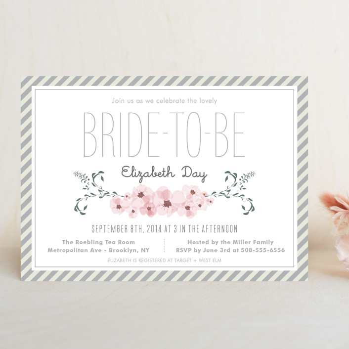 """""""Lovely Day"""" - Floral & Botanical Bridal Shower Invitations in Silver Blush by Yeah Papers."""