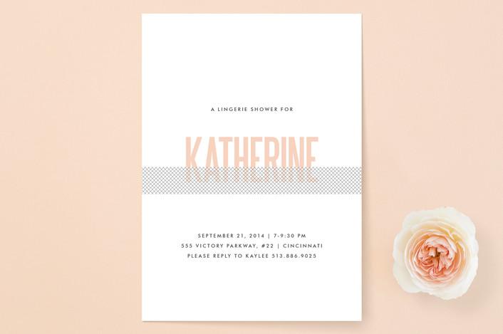 """Revealing"" - Bold typographic, Modern Bridal Shower Invitations in Blush by Kim Dietrich Elam."