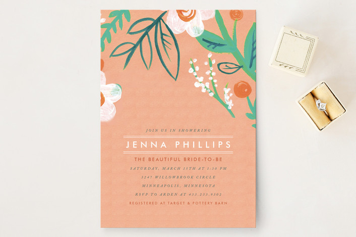 """Matthiola"" - Whimsical & Funny, Floral & Botanical Bridal Shower Invitations in Tropical by Moglea."