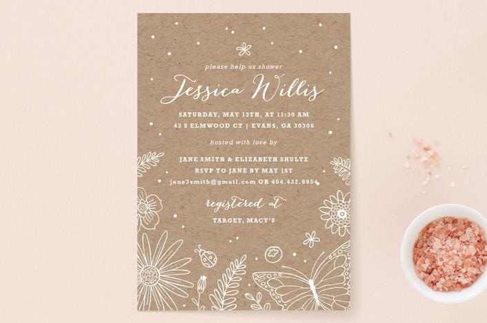 """Wildflowers"" - Craft, Flora & Fauna Bridal Shower Invitations in Kraft by Kristen Smith."