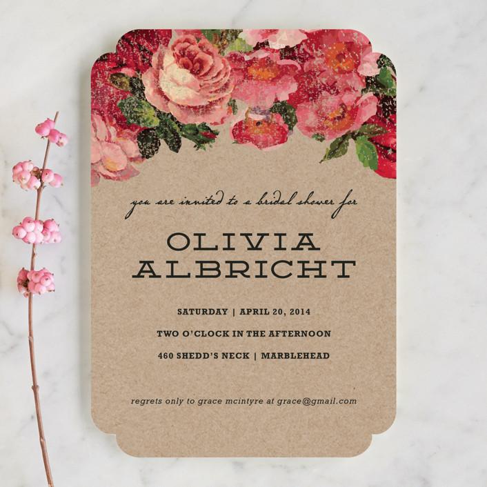 """The Porch"" - Vintage, Floral & Botanical Bridal Shower Invitations in Rose by Susan Brown."