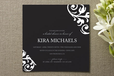 chocolat et crme Bridal Shower Invitations
