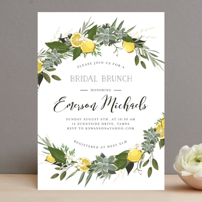 """Citrus & Greens"" - Bridal Shower Invitations in Linen by Susan Moyal."