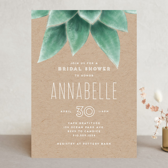 """""""Greenery"""" - Bridal Shower Invitations in Greenery by Leah Bisch."""