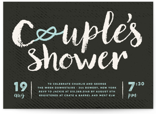 This is a beige, black, blue Bridal Shower Invitations by fatfatin called Couple's Knot with Standard printing on Signature in Classic Flat Card format. A modern design featuring bold typography and a knot