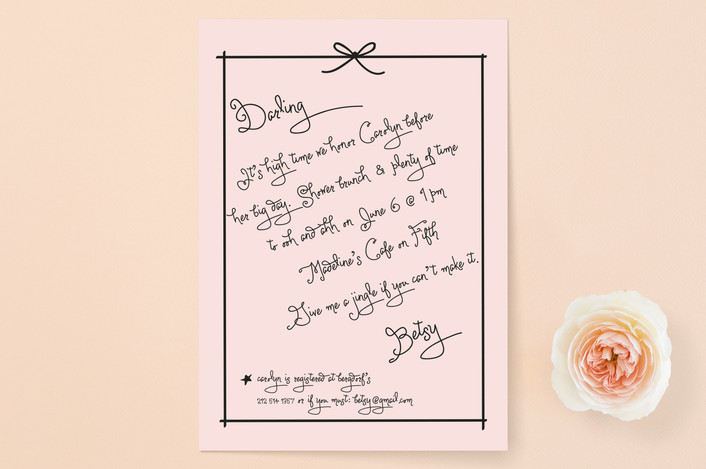 """Pass the Macaroons Darling"" - Preppy, Whimsical & Funny Bridal Shower Invitations in Blush by Susan Brown."