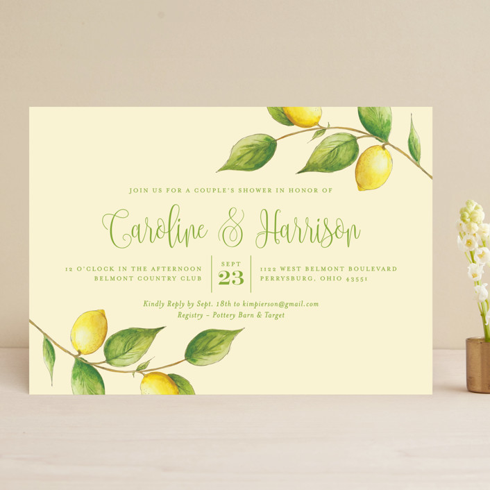 """Lemon Drop"" - Bridal Shower Invitations in Lemon by Erin Deegan."
