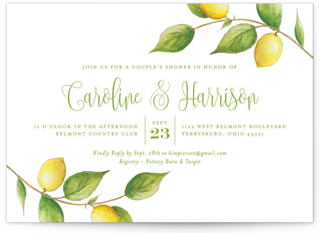 This is a green, yellow Bridal Shower Invitations by Erin Deegan called Lemon Drop with Standard printing on Signature in Classic Flat Card format. Wedding shower invitation featuring an original, watercolored, lemon illustration.