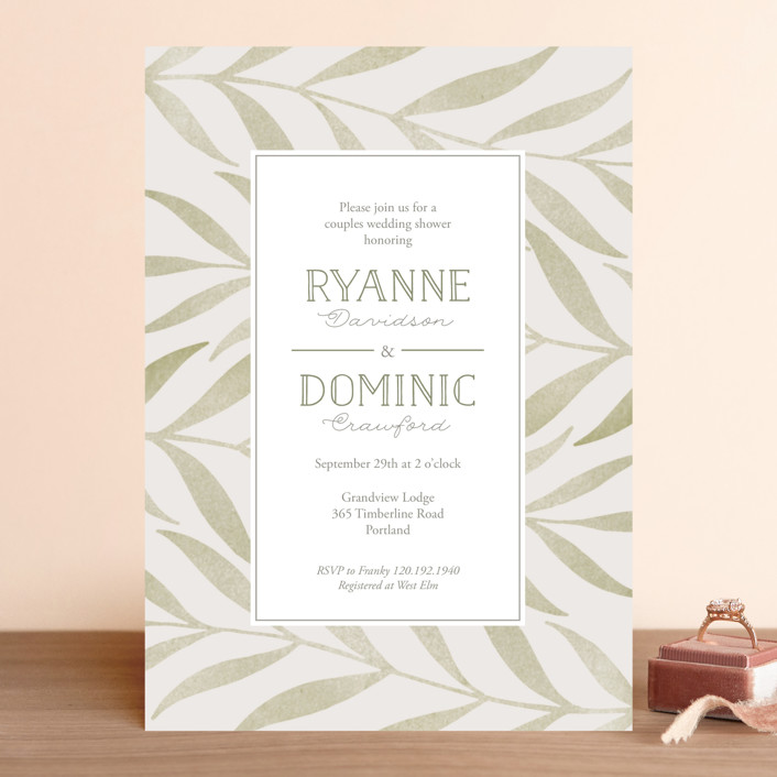 """Chevron Greenery"" - Bridal Shower Invitations in Willow by Lorent and Leif."