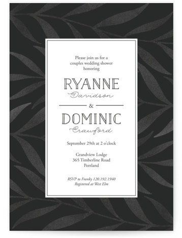 This is a black Bridal Shower Invitations by Lorent and Leif called Chevron Greenery with Standard printing on Signature in Classic Flat Card format. This non photo wedding shower invitation features an organic and gender neutral pattern.