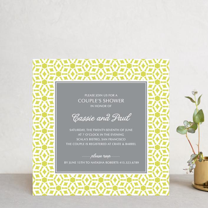 """Elegantly Simple"" - Vintage, Formal Bridal Shower Invitations in Citrine by Guess What Design Studio."