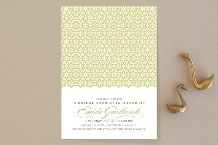 """ella gant"" - Vintage, Formal Bridal Shower Invitations in Pear by Guess What Design Studio."