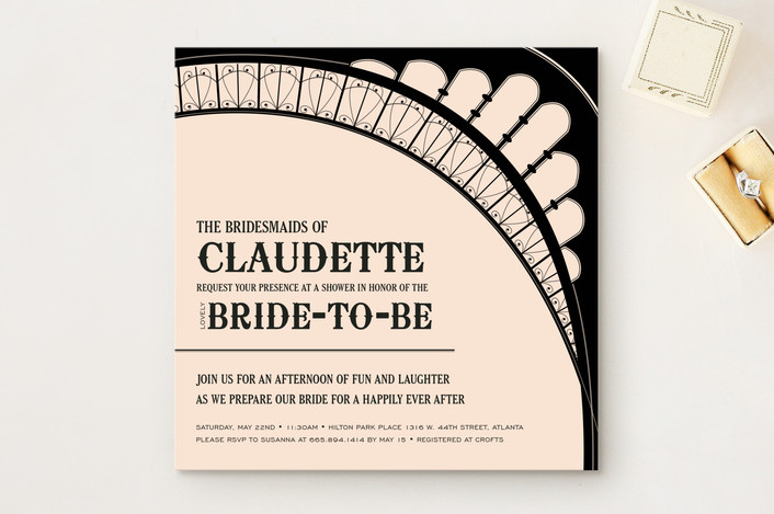 """""""French Flair"""" - Destination, Modern Bridal Shower Invitations in Dusted Peach by Andrea Snaza."""