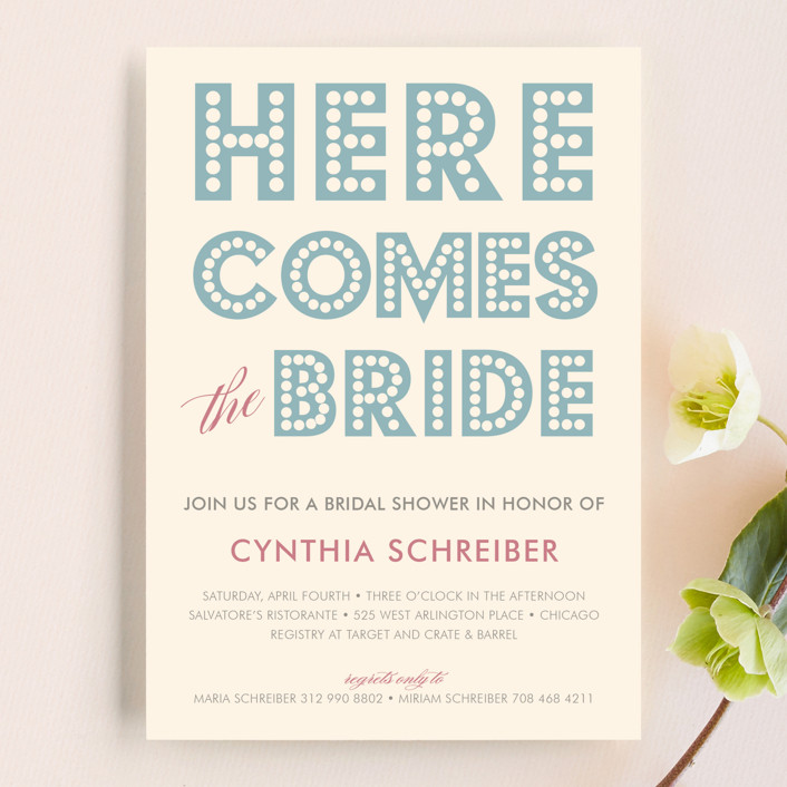 """float + here comes"" - Modern, Whimsical & Funny Bridal Shower Invitations in Light Blue by Float Paperie."