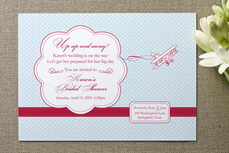 Come Fly With Me Bridal Shower Invitations