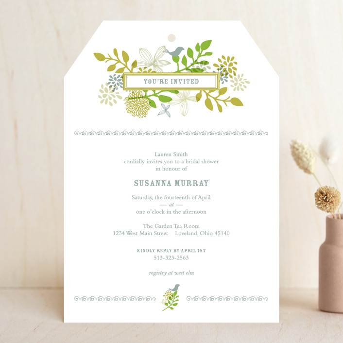"""Fling"" - Bridal Shower Invitations in Leaf by Andrea Mentzer."