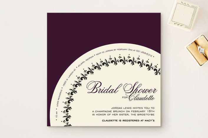 """French Fantaisie"" - Vintage, Formal Bridal Shower Invitations in Plum by Andrea Snaza."