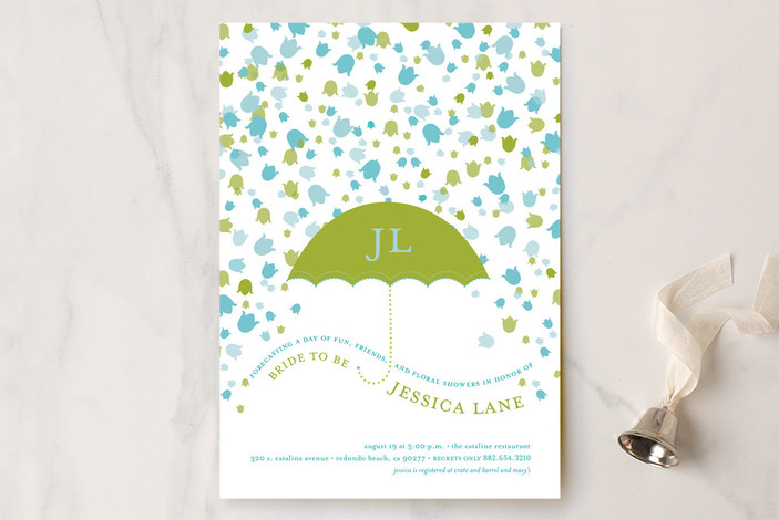 """""""Floral Showers"""" - Whimsical & Funny Bridal Shower Invitations in Spring Green by pottsdesign."""