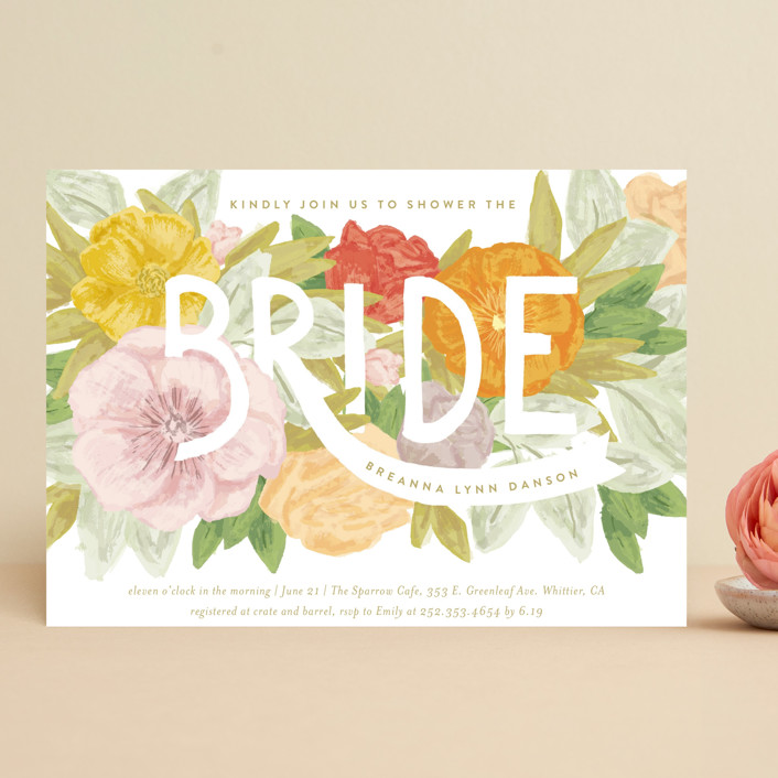 """Floral Bride Banner"" - Bridal Shower Invitations in Olive by Shiny Penny Studio."