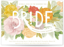 This is a green bridal shower invitation by Shiny Penny Studio called Floral Bride Banner with standard printing on signature in standard.