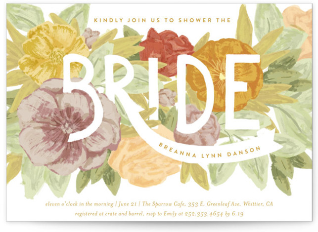 This is a colorful, yellow Bridal Shower Invitations by Shiny Penny Studio called Floral Bride Banner with Standard printing on Signature in Classic Flat Card format. This bridal shower invitation features hand painted florals in bright fresh modern colors. Flowers ...