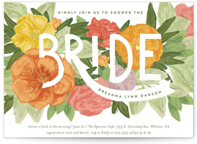 This is a colorful Bridal Shower Invitations by Shiny Penny Studio called Floral Bride Banner with Standard printing on Signature in Classic Flat Card format. This bridal shower invitation features hand painted florals in bright fresh modern colors. Flowers fill ...
