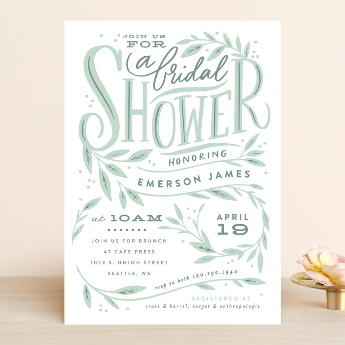 """""""Leaf Framed Shower"""" - Bridal Shower Invitations in Mint by Alethea and Ruth."""