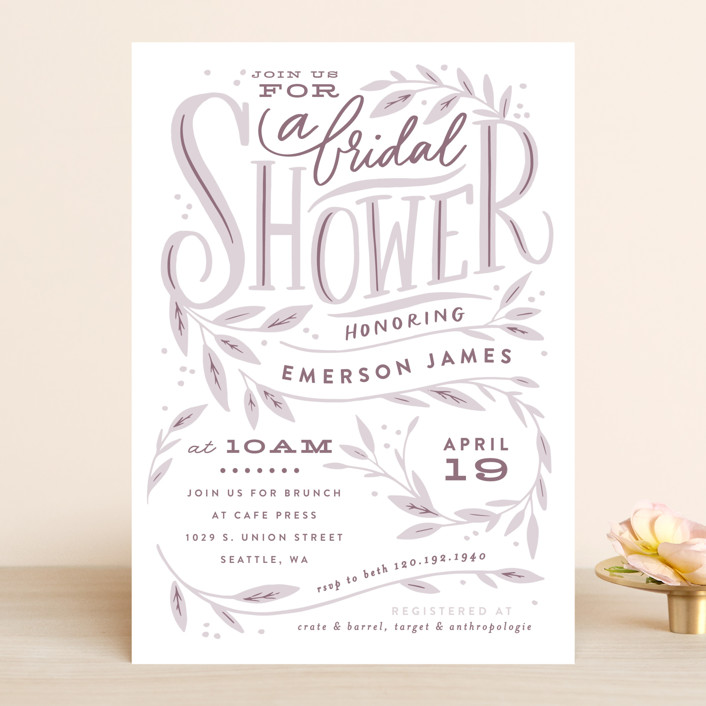 """Leaf Framed Shower"" - Bridal Shower Invitations in Mint by Alethea and Ruth."