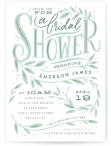 This is a green bridal shower invitation by Alethea and Ruth called Leaf Framed Shower with standard printing on signature in standard.