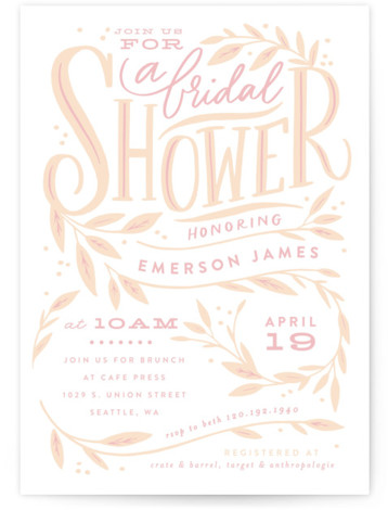 This is a beige Bridal Shower Invitations by Alethea and Ruth called Leaf Framed Shower with Standard printing on Signature in Classic Flat Card format. This bridal shower invite features hand written lettering and information framed by branches and leaves. ...