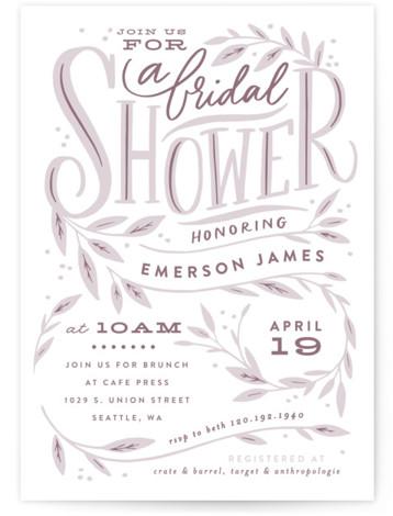 Leaf Framed Shower Bridal Shower Invitations