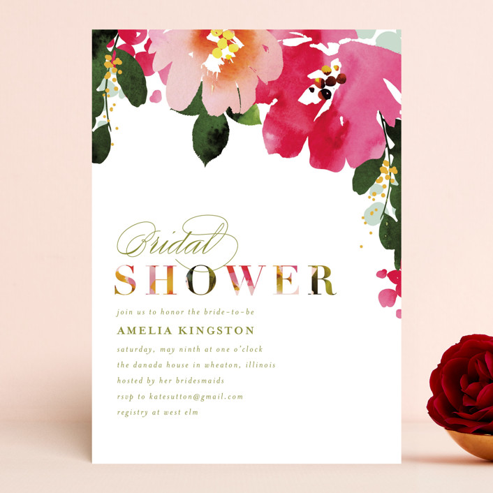"""Vivacious"" - Bridal Shower Invitations in Peony by Angela Marzuki."