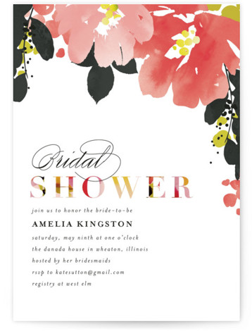 This is a colorful, pink Bridal Shower Invitations by Angela Marzuki called Vivacious with Standard printing on Signature in Classic Flat Card format. Bold handpainted florals and clean type