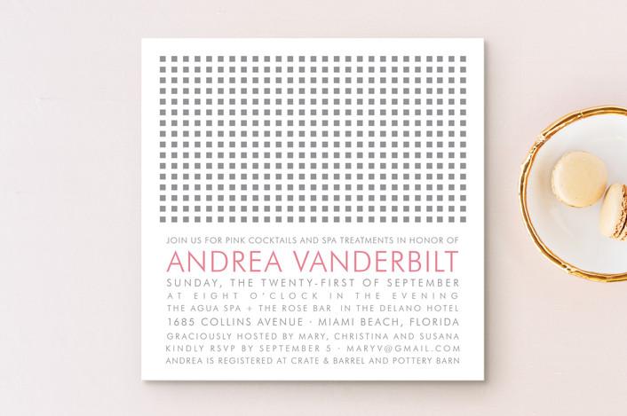 """Swanky Hotel"" - Modern Bridal Shower Invitations in Pebble by Splendid Press."