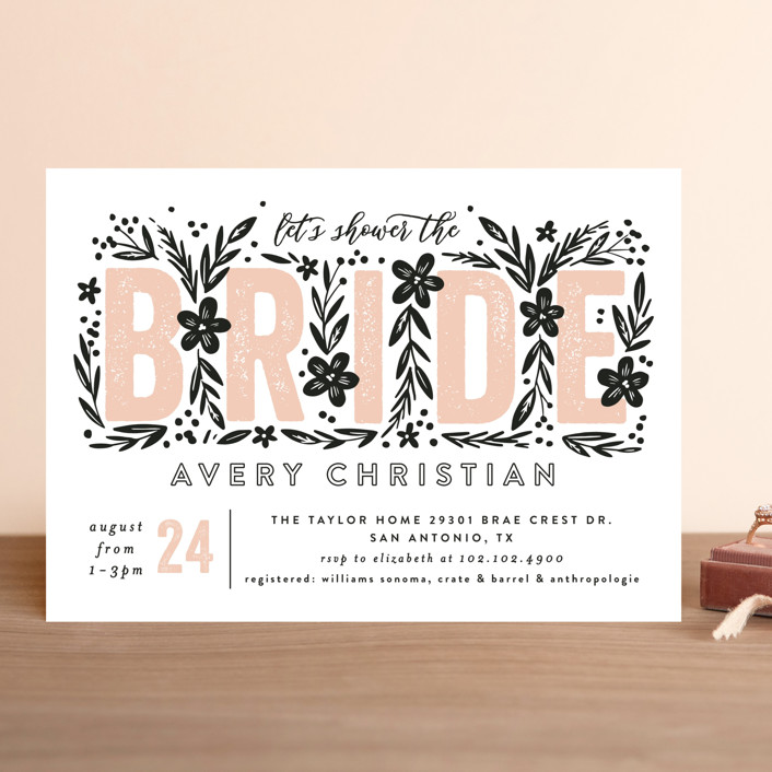 """Bride Florals"" - Bridal Shower Invitations in Azalea by Alethea and Ruth."