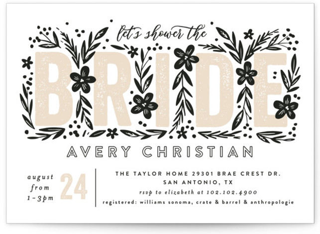 This is a brown Bridal Shower Invitations by Alethea and Ruth called Bride Florals with Standard printing on Signature in Classic Flat Card format. This shower invite features bold typography surrounded by florals.