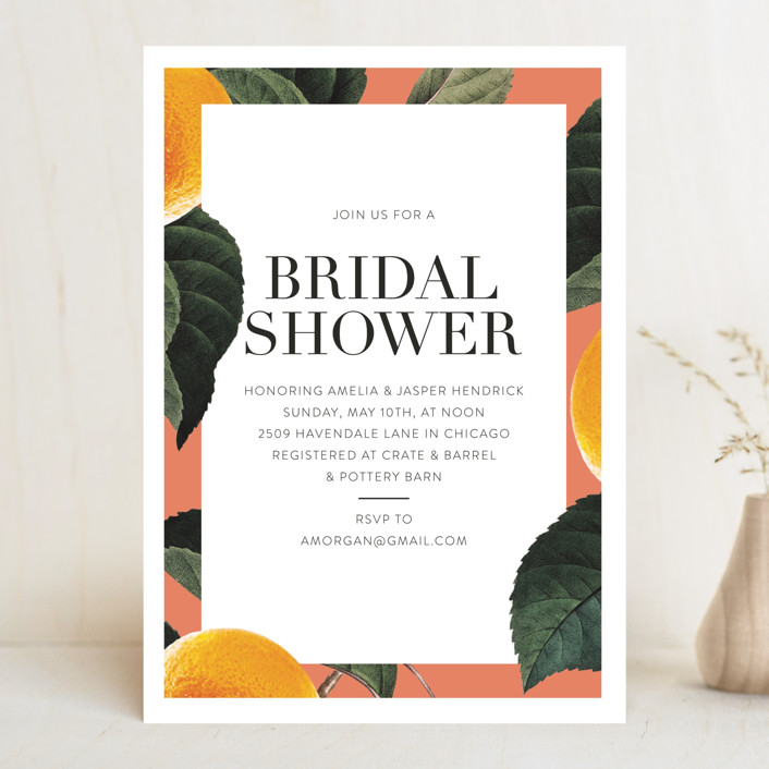 """tropical border"" - Bridal Shower Invitations in Peach by Baumbirdy."