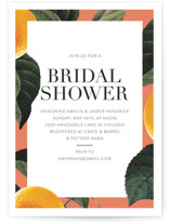 This is a orange bridal shower invitation by Baumbirdy called tropical border with standard printing on signature in standard.