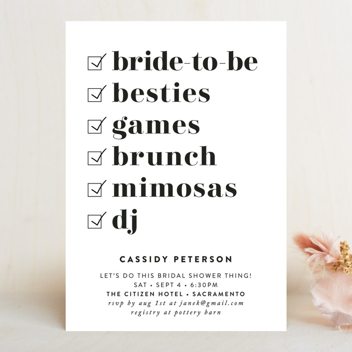 """Key Ingredients"" - Bridal Shower Invitations in Cotton by Christie Garcia."