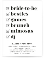 This is a white bridal shower invitation by Christie Garcia called Key Ingredients with standard printing on signature in standard.