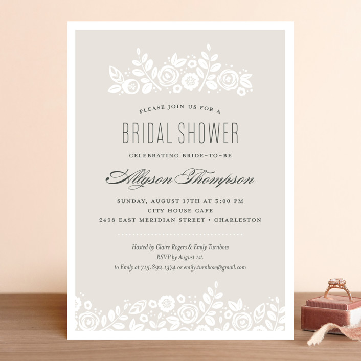 """""""White Shadows"""" - Rustic Bridal Shower Invitations in Champagne by Jessica Williams."""