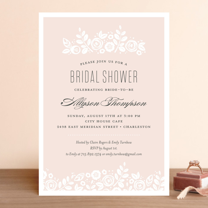 """White Shadows"" - Bridal Shower Invitations in Champagne by Jessica Williams."