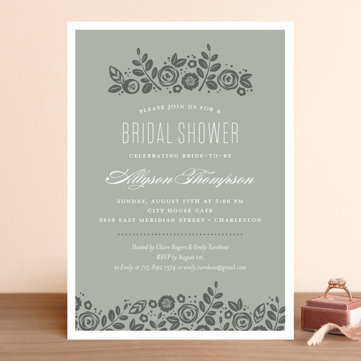 """""""White Shadows"""" - Bridal Shower Invitations in Champagne by Jessica Williams."""