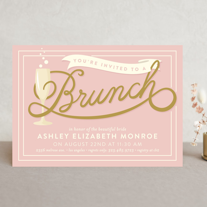 Bubbly Brunch Bridal Shower Invitations by GeekInk Design Minted