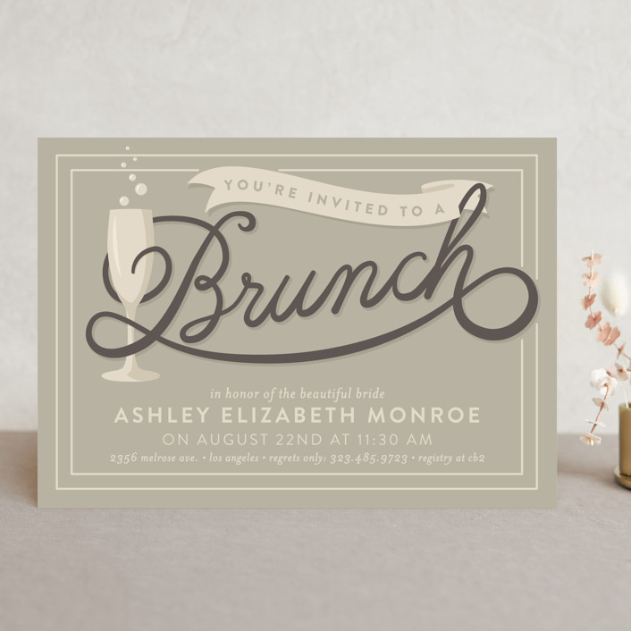 """""""Bubbly Brunch"""" - Bold typographic, Whimsical & Funny Bridal Shower Invitations in Strawberry by GeekInk Design."""
